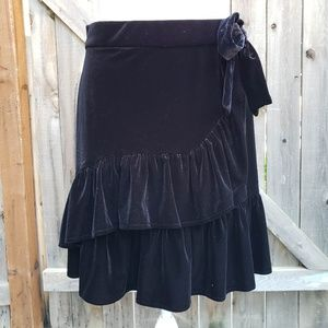 Carolina Belle Tiered Ruffle Velvet Skirt